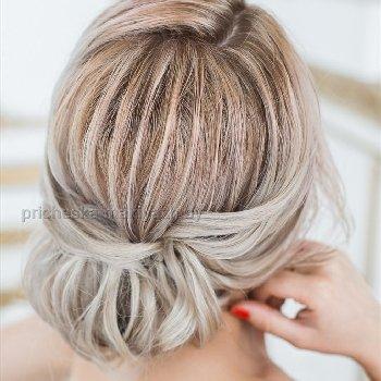 Причёска на средний волос текстурный пучек