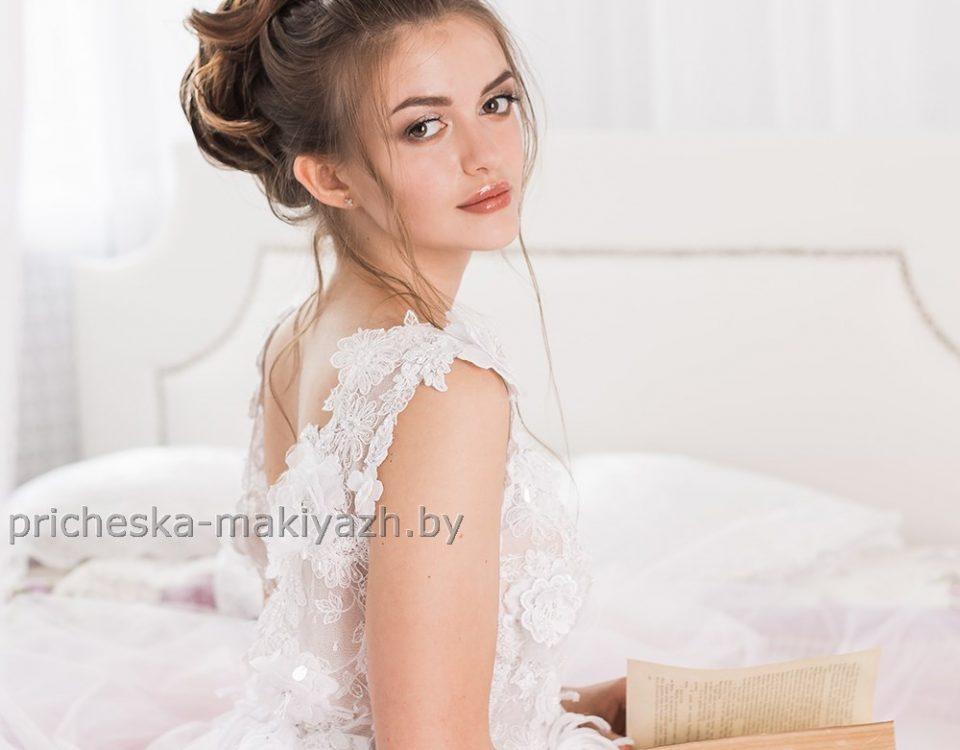 Свадебная причёска высокий объёмный пучок