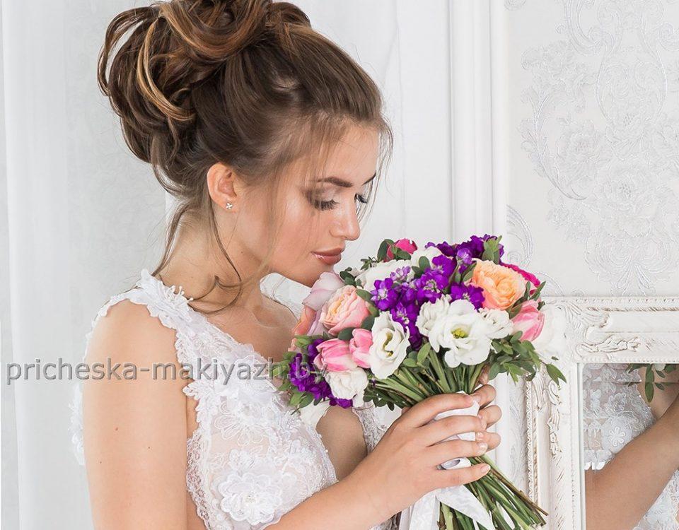 Свадебная причёска высокий объёмный пучек