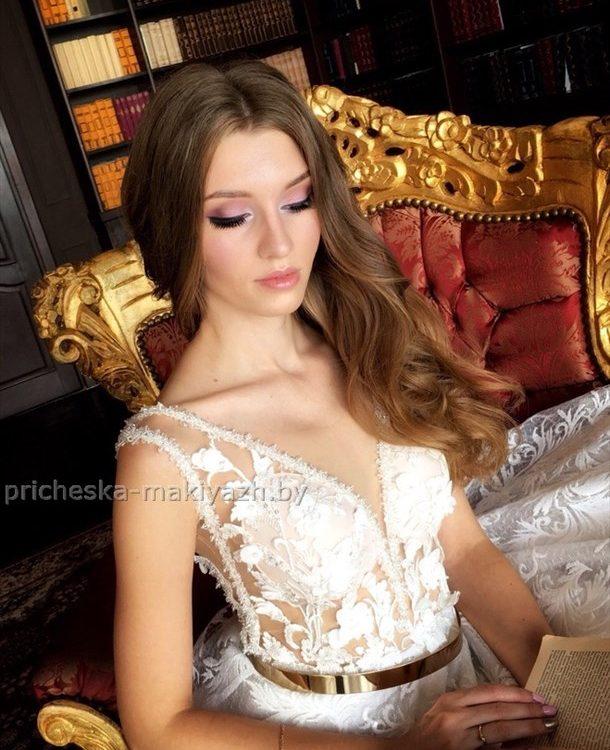 свадебный нежный макияж в розовых тонах